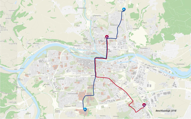 Karte mit geplanter Linienführung der Stadtbahn